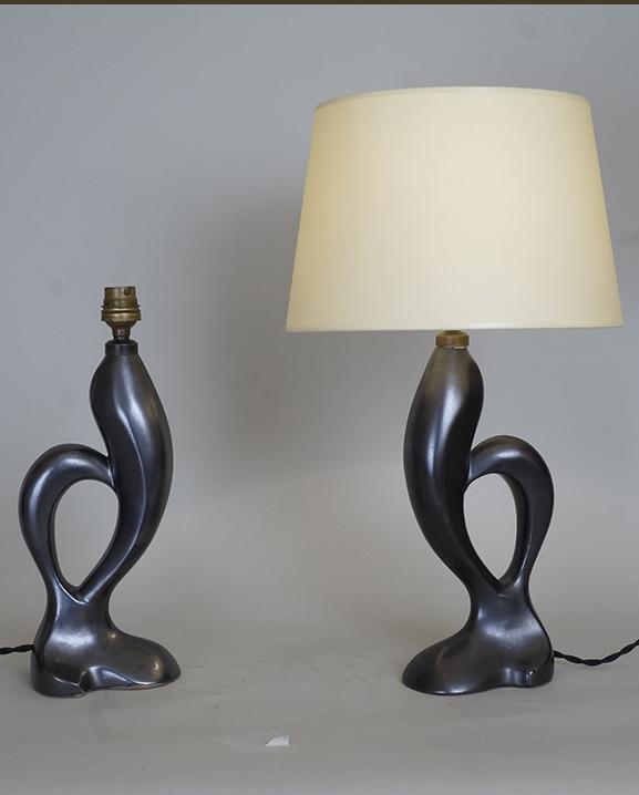 L 465- Paire de lampes noires  Haut : 44 cm / 17,3 in