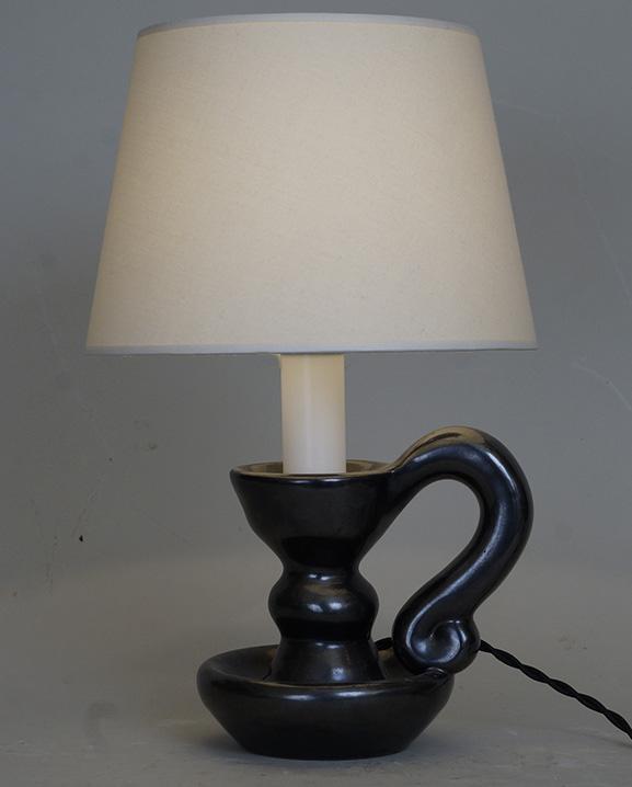 L 487- Lampe bougeoir noire.   Haut : 32  cm / 12,6 in